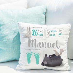 Cojín-natalicio personalizado para bebé recién nacido, modelo animales