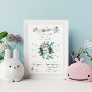 Natalicio personalizado para bebé recién nacido, modelo olivo